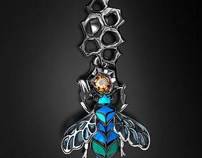 Blue bees enamel pendant 3D print model