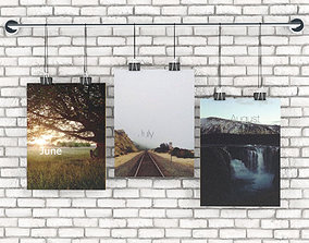 3D Posters with sketches of the seasons