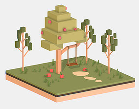 3D asset Isometric Apple Fruit Tree Rope Swing