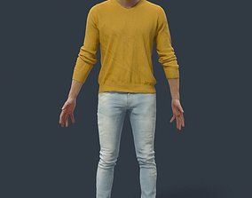 Animated Casual Man in Jeans Long Sleeves - 3D model 2