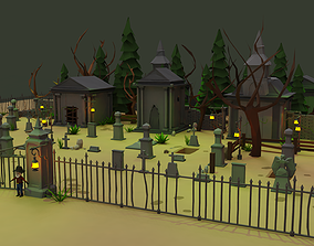 Haunted Graveyard Pack - 54 Assets low-poly