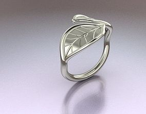 printable 3D print model Leaf Ring