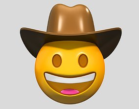 Emoji Cowboy Hat Face 3D
