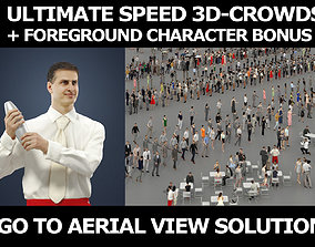 3d people crowds and Romance foreground waiter barman