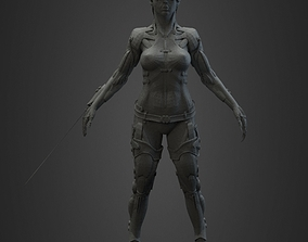 cyborg woman 3D print model