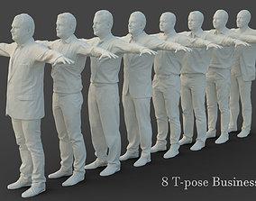 3D asset 8 T-Pose Business Men