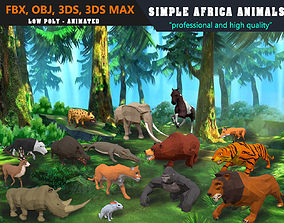 Low Poly Big Collection Animals Africa Cartoon - 3D model