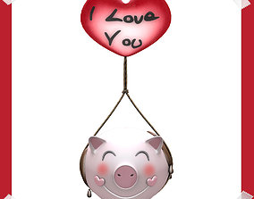 Love Pig Model in many colours 3D asset