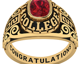 Personalized Class Ring 12 - Cushion Marqui 3D print model