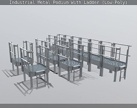 3D model Industrial Metal Podium With Ladder