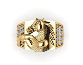 Horse ring gold 3D printable model