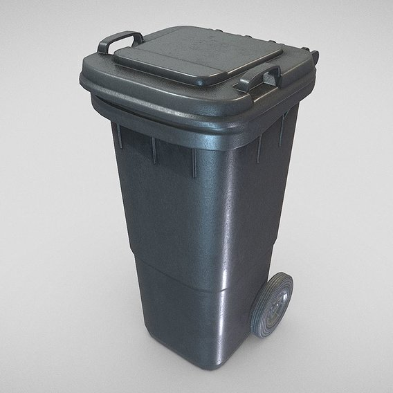 Black Plastic Waste Bin 60 Liters 945x360x448