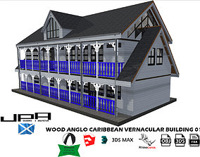 Wood Vernacular 2 storie Building 3D asset