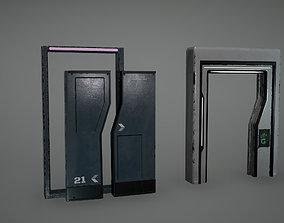 3D model Cyberpunk Sci-fi Door Low Poly Game Ready