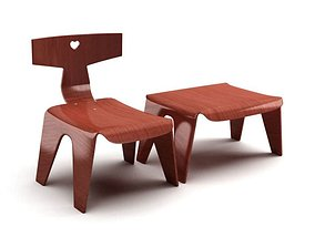 Retro Wooden Toddler Chairs 3D model