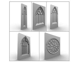3D historic 5 Medieval Gothic Windows Set