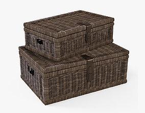 Wicker Basket 6 Walnut Brown Color 3D model