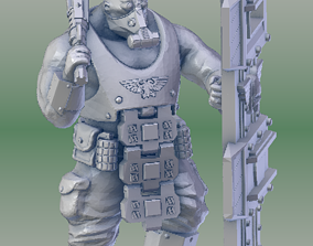3D printable model Armored Scifi Ogre with Shield