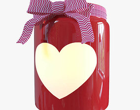 3D asset Red Valentines Day Heart Jar