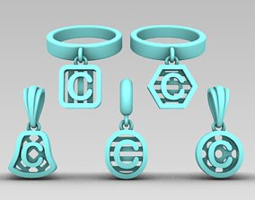 Initial letter charm with 3D printable model 5