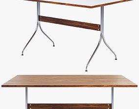 3D walnut Nelson Swag Leg Rectangular Work Table