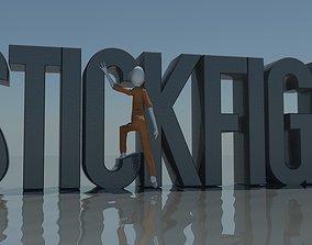 3D model Rigged Stick Figure