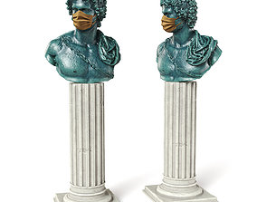 3D Young greek bust mask green