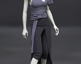Female Top Asymetric and skirt 3D