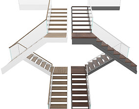 wood Stairs 3D model game-ready