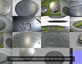 3D model Compass Sewer Cover 4 Basic Low and High-Poly
