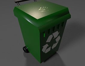 3D model rigged trash dumpster