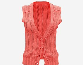3D asset Pink Knit Pull Buttoned