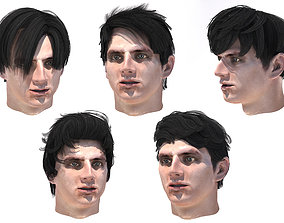 Set male hairstyle 5 types 3D model game-ready