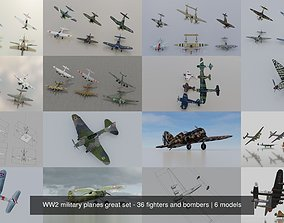 3D WW2 military planes great set - 36 fighters and bombers