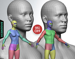 3D Average Body Low Poly Basemesh Collection male