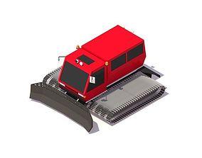 3D model Cartoon Low Poly Snowcat Track Vehicle