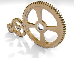 Cogwheels brass 3D model