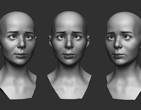 Emotion female head 3D printable model
