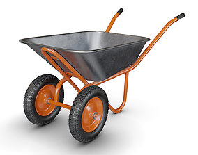 3D PBR Wheelbarrow Orange