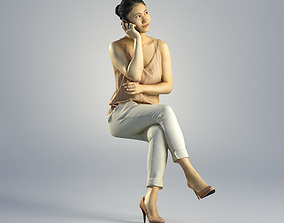 3D model Woman Lena Business Seated 002