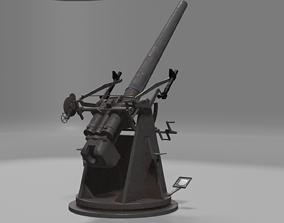 3D asset QF 3 naval 3 inch gun low poly