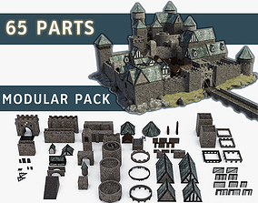 Medieval Castle Keep Modular Kitbash Pack 3D model