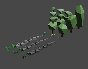 3D model Flowers trees and rocks
