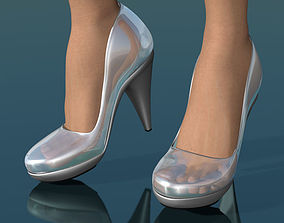 3D model game-ready Glass shoes low poly