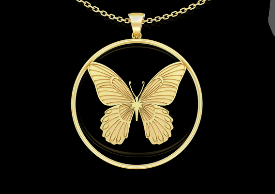 Small Butterfly Pendant jewelry Gold 3D print model