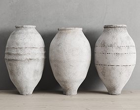 White Washed Antique Turkish Olive Jars 3D model