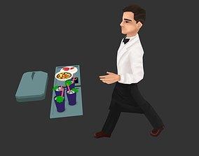 3D asset Waiter - lowpoly male character model