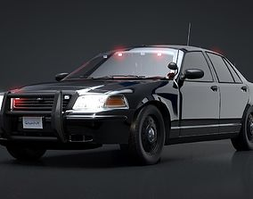 Undercover Police Car Rigged C4D 3D model animated