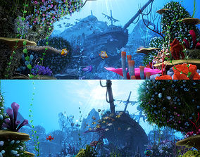 3D model Cartoon Underwater Scene Rigged Animated