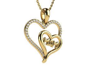 3D printable model 2 hearts with mom diamonds